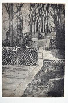 (c) Confais 2013 - Crime à Montmartre - Gravure taille douce - eau forte et techniques mixtes  - tirage 40 x 50 en 30 exemplaires numérotés et signés