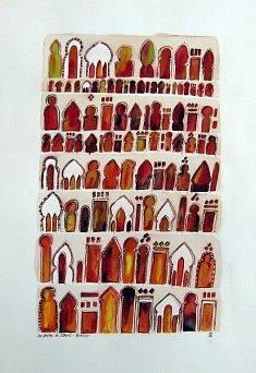 (c) Confais 2012 - Les Fenêtres de l'Orient - Aquarelle, pastel gras et encre sur Papier 70 x 100