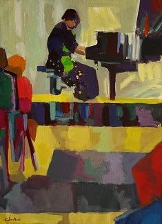 """Au Piano"" Huile sur toile :100 x 73"