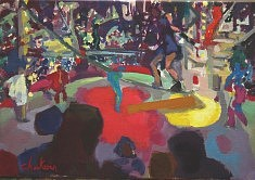 """""""La funambule"""" Huile sur toile :38 x 55"""