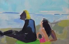 Femmes sur la plage   Huile sur toile       73 x 100