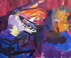 Pianiste et contrebassiste    Huile sur toile   60 x 73