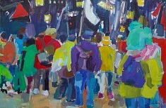 """""""Rassemblement"""" Huile sur toile 195 x 130"""