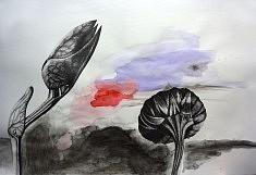 Série Entre Chien et Loup 2, feutre et aquarelle sur papier, 118x84 cm, 2017
