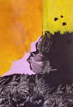 Paysage 3 Acrylique, techniques mixtes et xylogravure sur toile 2015 146X97 cm