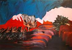 Paysage 1, Acrylique et gravure sur toile, 162 x 114 cm, 2018