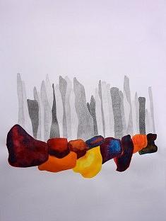 Série Refuges 7, Graphite et aquarelle sur papier,  42x59 cm, 2016