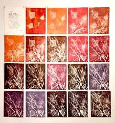 Couleurs d'automne •  installation • 19 Gravures sur bois à plaque perdue • 30x22,5cm/120x112,5cm • Feuilles détachées de la tige jusqu'à disparition • 2017