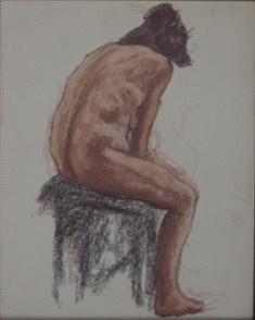 Nu à l'atelier 1, Pastel sur papier 46 X 36 cm