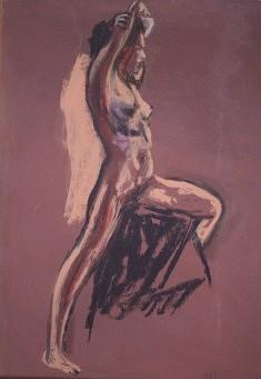 Nu à l'atelier 2, Pastel sur papier 47 X 37 cm
