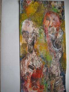 """""""Famille""""   interprétation de traces de pas.      110 cm x 56 cm          2018"""