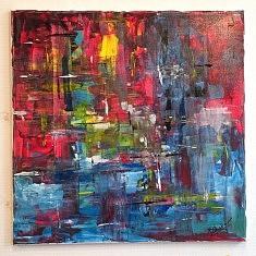 feu marin : peinture acrylique sur toile , 40x40