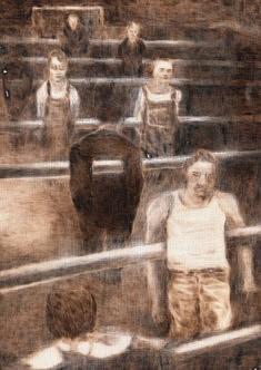 Jeux de société II pyrogravure sur toile 40x30cm 2016