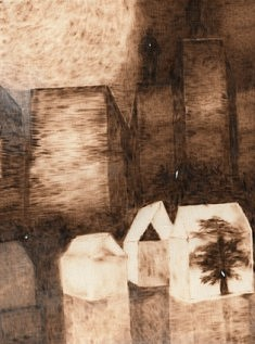 Eclairage II pyrogravure sur toile 42x30cm 2015