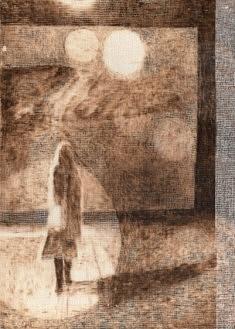 Eclairage IV  pyrogravure sur toiles 42x30cm 2015