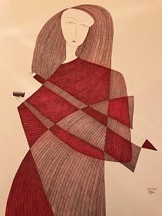 Jeune femme au peigne - en rouge