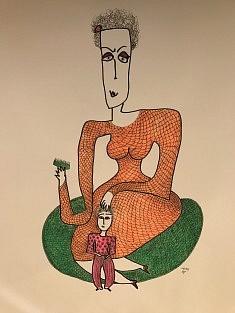 Mère et fille ou séance de torture sur coussin vert