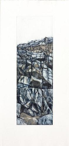 «Petites portes de vendée» 2014 Eau forte /aquatintes, sur cuivre.  3 plaques en repérage Format matrices 13,5 x 40 cm  eau forte bleu de prusse sur aquatintes terre d'ombre naturelle et gris de payne,