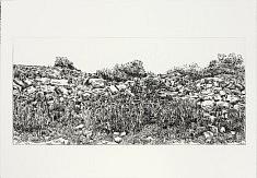 «puertas del garraf II» / 2011 eau forte sur cuivre, matrice 2x 65x30 cm  tirage 20 ex noir 56x76cm 285 g/m² tirage plaques rassemblées 10 ex noir sur Laurier  56x150cm 285 /m²