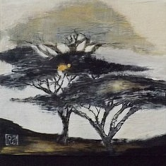 Dune. 100X100cm. techniques mixtes sur toile. 2003