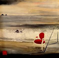 Voltaire à la plage 80 x 80 cm. Techniques mixtes sur toile