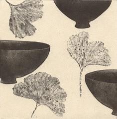 bols ginko, eau-forte sur chine collé