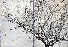 En attendant un rossignol - 2014 - Pigments de couleur, colle de cerf, encre de Chine et feuilles d'argent sur panneaux - 2 x 65,2 x 45,5 cm