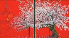 Cerisier à Honpoji - 2014 - Pigments de couleur, colle de cerf, encre de Chine et feuille d'or sur panneaux - 2 x 27,3 x 24,2 cm