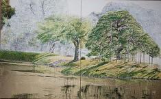 Hitotsumatsu III - 2017 - Pigments japonais, colle de cerf, encre de Chine, feuilles d'or - 65,2 x 53 cm x 2