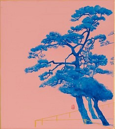 Pins bleus - 2015 -Couleurs sur carton - 27,3 x 24,2 cm