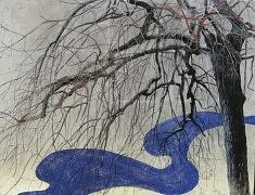 Chant hivernal I - 2016 - Pigments de couleur,colle de cerf, encre de Chine, et feuilles d'argent sur panneau - 50 x 65 cm