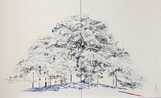 Hitotsumatsu II - 2017 - Pigments japonais, colle de cerf, encre de chine, feuilles d'or - 65,2 x 50 cm x 2