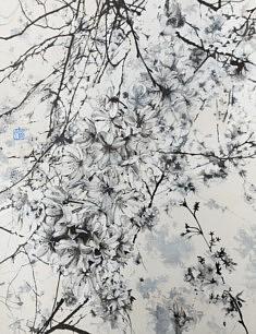 Cerisier de Brooklyn - 2018 - Pigments de couleur, colle de cerf, encre de Chine, feuilles  d'argent - 65,2 x 50 cm