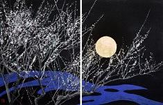 Nocturne IV - 2018 - Pigments de couleur, colle de cerf, feuilles d'or - 65,2 x 50 cm x 2