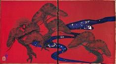 Pins - Hommage a Sotatsu - 2018 - Pigments de couleur, colle de cerf, encre de Chine, feuilles d'or - 13,6 x 12 cm x 2