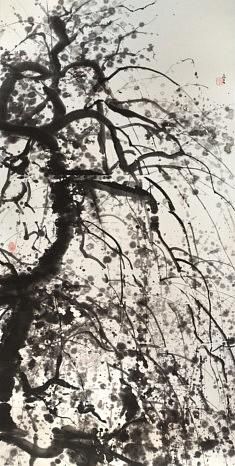 Prunier pendant - 2018 - Encre de Chine - 137 x 70 cm