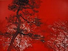 Pin et cerisiers de nuit - 2015 - Pigments de couleur - colle de cerf - encre de Chine - feuilles d'argent - 45,5 x 60,6 cm