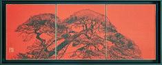 Pin incline - 2017 - Encre de Chine, Peinture chinoise, feuille d'or - 27,3 x 24,2 cm