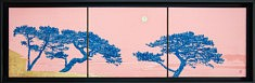 Memory III - 2018 - Peinture chinoise, feuilles d'or et de cuivre sur cartons - 24,2 x 27,3 cm x 3