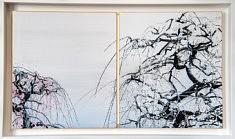 Conversation - 2018 - Pigments japonais, colle de cerf, encre de Chine, feuilles d'argents  sur cartons - 27,3 x 24,2 cm x 2