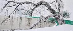 Chant hivernal III - 2016 - Pigments japonais, colle de cerf, encre de chine, feuilles d'argent - Diptyque 45,5 x 53 cm x 2