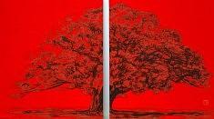 Sans Titre II - 2013 - Pigments de couleur, colle de cerf, encre de Chine sur panneaux - 2 x 53,5 x 45,5 cm