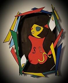 Kiki de Montparnasse   Dimensions : hauteur 29cm largeur 20cm profondeur 6,5cm Technique : mixte (carton, bois) Année : 2016