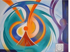 """""""Eclosion par le cercle"""" - 2016 (73x92cm)"""
