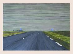 Moderne Landschaft III, gouache sur papier, 100x70cm, 2018