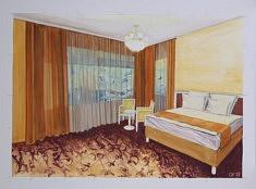 Zimmer, gouache sur papier, 100 cm / 70cm 2018