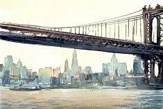 Le pont/Aquarelle.