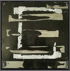 Eraflures - technique mixte sur bois laqué 52 x52 cm encadré : caisse américaine