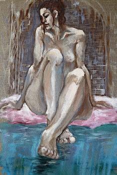Au hammam Huile sur toile (33 x 41)