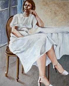 Femme en blanc Huile sur toile (33 x 41)